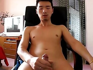 Asian boy shoot his load