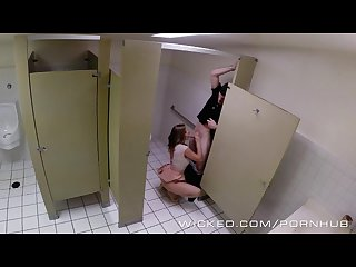 Wicked couple has sex in public bathroom