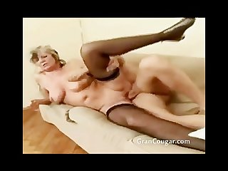 Old granny gets pussy fucked while her saggy tits bounce around