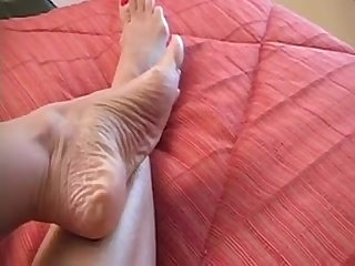 Milf shows you her mature feet