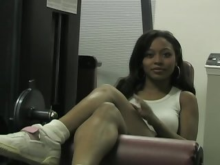 Ebony goddess sweaty workout foot tease