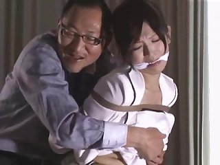 Cute japanese secratary is tied up by her boss