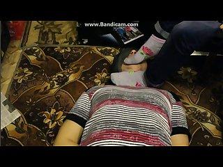 Bound slave licks feet