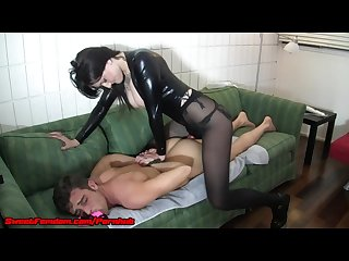 Femdom strap on chastity and cei compilation
