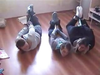 3 girls hogtied in socks and scarf gagged lq