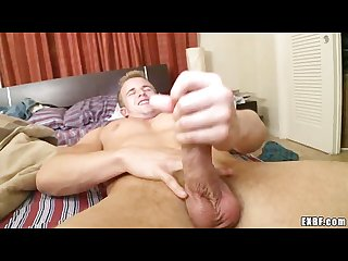 Sleeping beauty jerks his cock