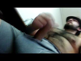 Webcaming & Masturbating Hairy Bearded Latino Stud Uncut Cock