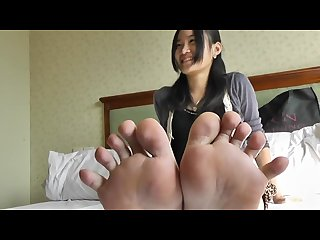 Asian foot fetish leopard skirt sole show