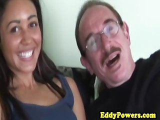 Retro creampied petite enjoying old man