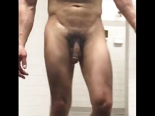 Muscle big dicked daddy naked in locker room