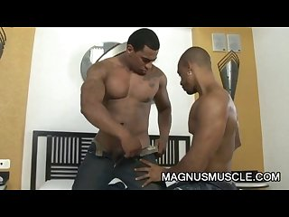 Dado and renzo muscular ebony guys roughing it up