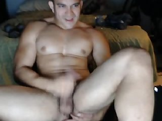 Latin Muscle Stripper Jerks off and Tastes his Cum