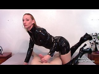 Brittany lynn in pvc gives pov blowjob and handjob for cum in her hand