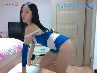 Super hot Korean camgirl park mina lookalike blue racer dress
