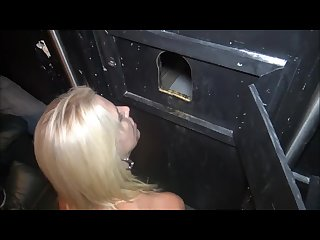 Gloryhole slut takes her loads