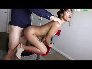 BLOWJOB SKILLS! Asian Tatted Teen Girl FUCKS Her Sugar Daddy.