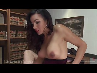 Gorgeous ts secretary dominates boss