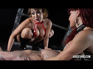 Ava devine and sexy vanessa play with slave