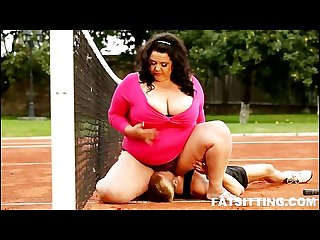 Extra large brunette dominates and facesits her tennis teacher
