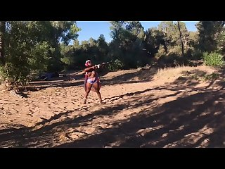 Camping 4th of july outdoor scenic topless shooting fast fingering