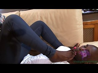 Dark chocolate ebony foot worship