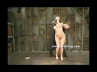 Blonde with perky tits bound tight and hanged by her pussy in bru