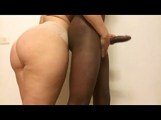 Oily teasing handjob for bbc
