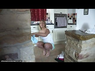 Brunette milf diamond upskirt panty shot while cleaning the house shame