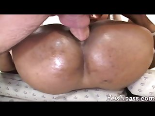 Big black ass gets anal balls deep from a big white cock