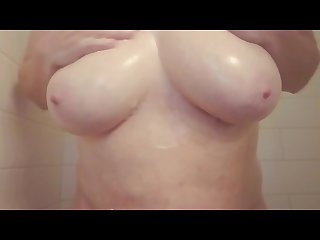 My big tits kept distracting me in the shower