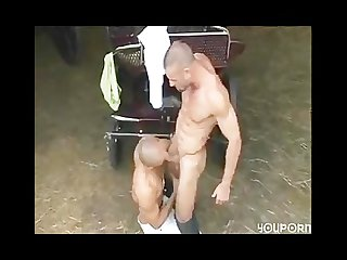 muscled studs fucking around on the farm