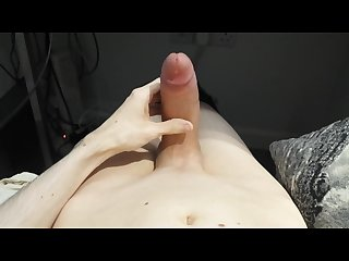 Large shaved uncut cock edging and leaking precum then shooting huge load