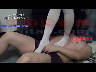 Chinese femdom trample footjob