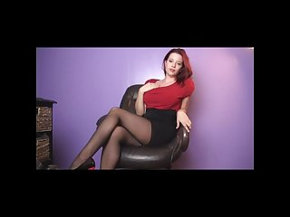 Sarah blake femdom pantyhose tease in office chair