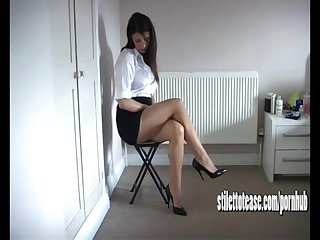 Hot babe sofia teases long sexy legs and tapered high heels for your fetish