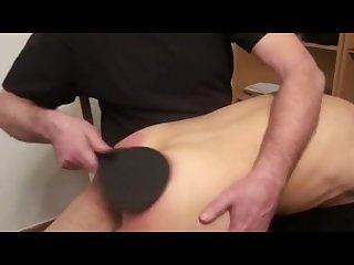Stepson cums while dad spanks him
