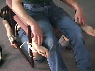Chair bound foot tickle torture