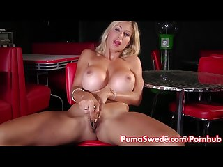 Puma swede strips out of stockings to cum