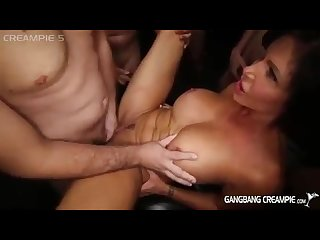 Super hot milf gets gangbang creampies