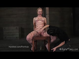 Young blonde tied up in thin wire