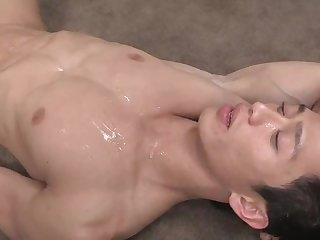 Sexy asian solo jerks off and cums hard