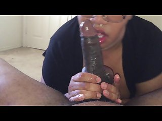 Getting a sloppy blowjob