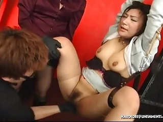 Bdsm session with multiple sex toys for tied oriental girl