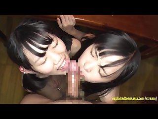 Jav idols yukari and meru fucked by lucky old guy on the kitchen table