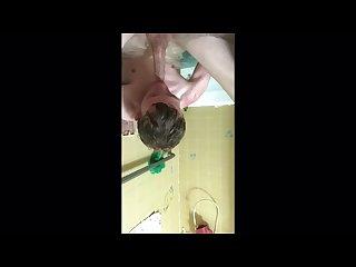 Bathtub self suck and jerk
