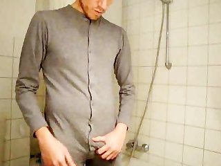 Pre cumming in german uni pajama