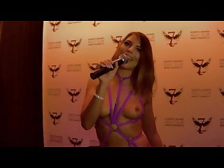 Adriana chechik gives a fan lap dance then squirts on stage