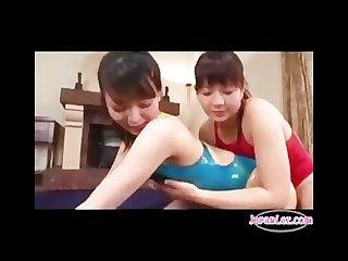 Lesbian oil massage in swimsuit