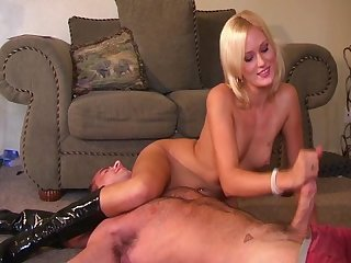Cute girl jc scissor holds a guy and jerks his cock till he cums
