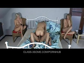 Three hot blondes in bed with one lucky guy
